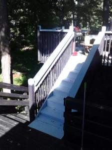 blue deck stairs